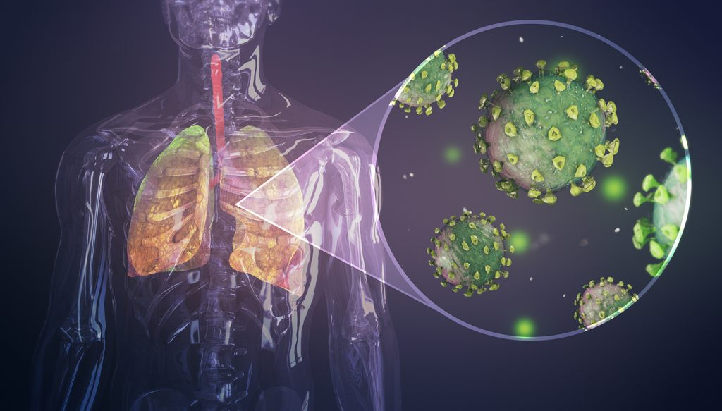 Skeletal image focusing on the lungs with a close up of viruses.
