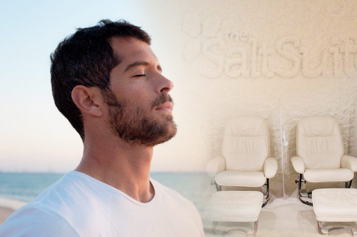 Man breathing easy with salt therapy.