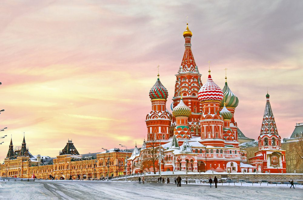 Vibrant painted Russian structures.